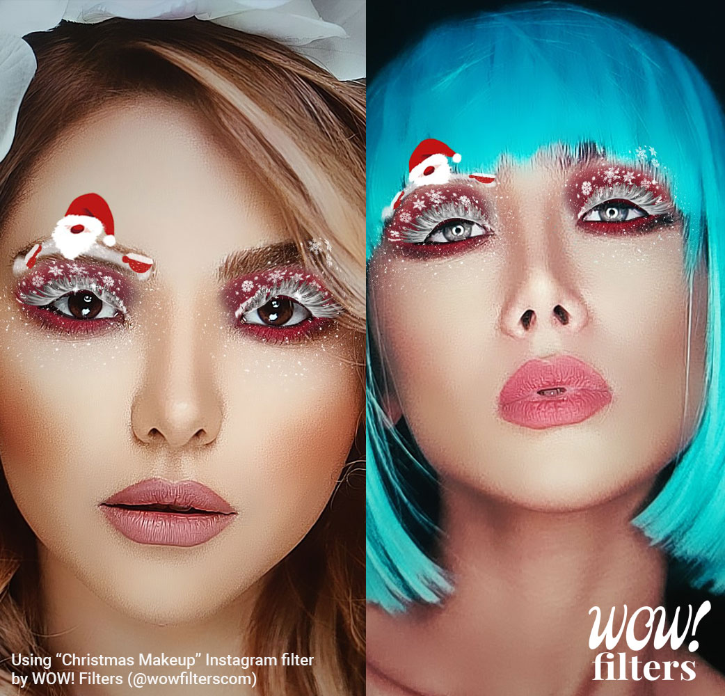 Two models wearing Christmas 3D makeup
