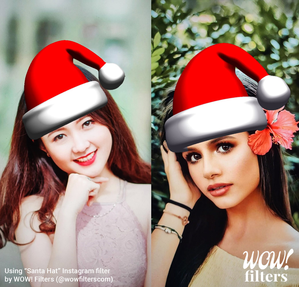 Two women wearing a Santa hat camera effect