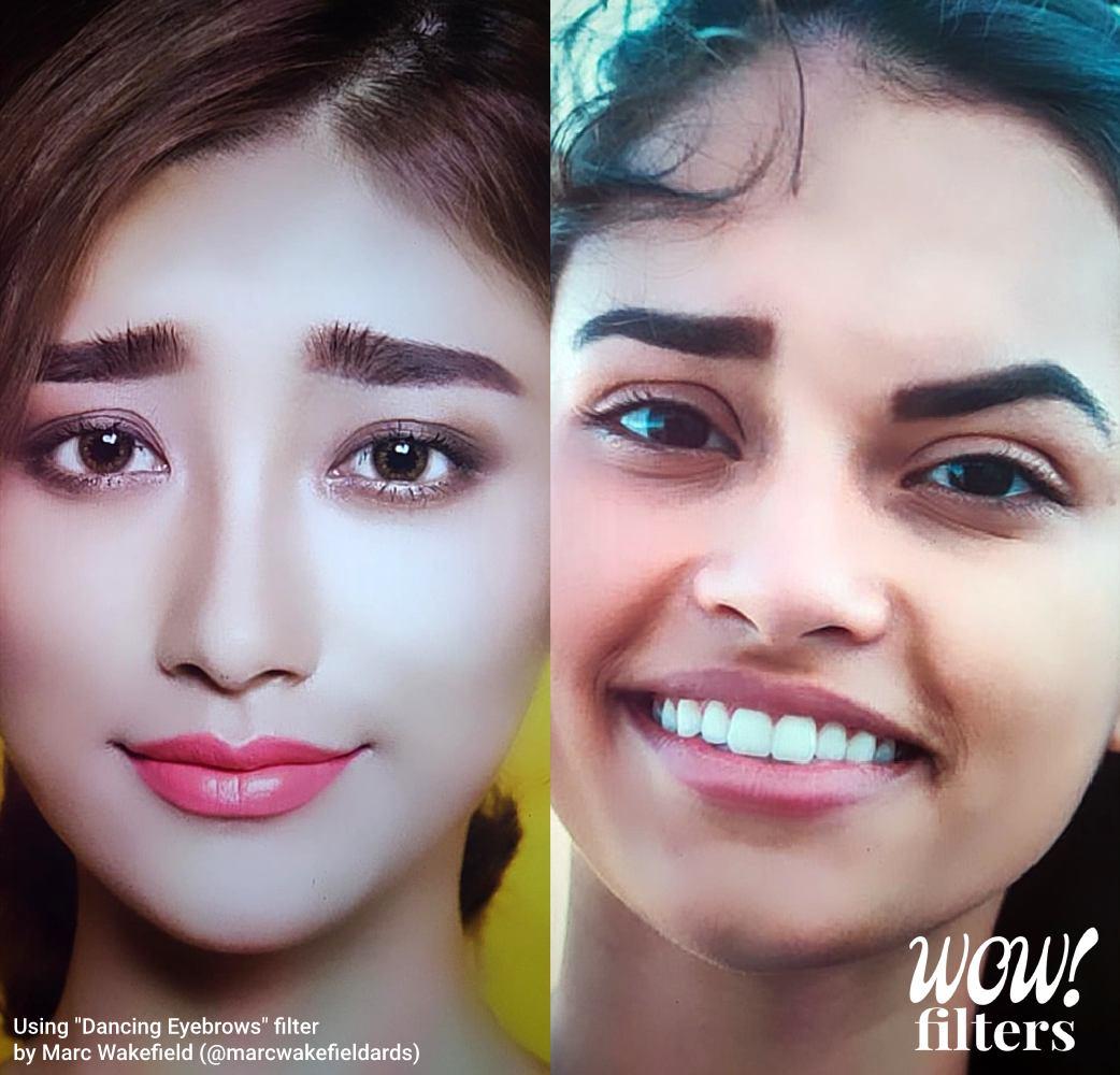 distorted eyebrow Instagram effect