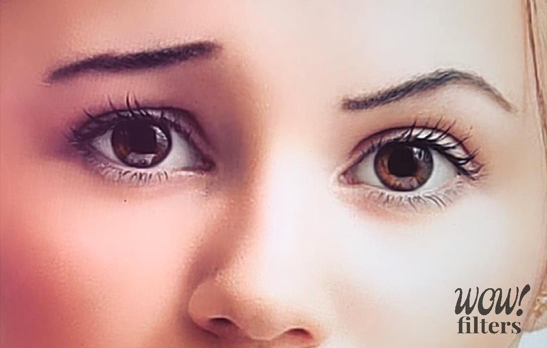 Eyebrows closeup after Instagram distortion camera effect