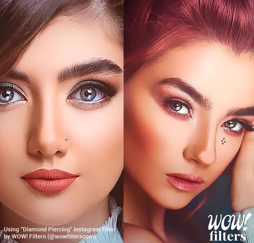 Women with Diamond face piercings Instagram filter