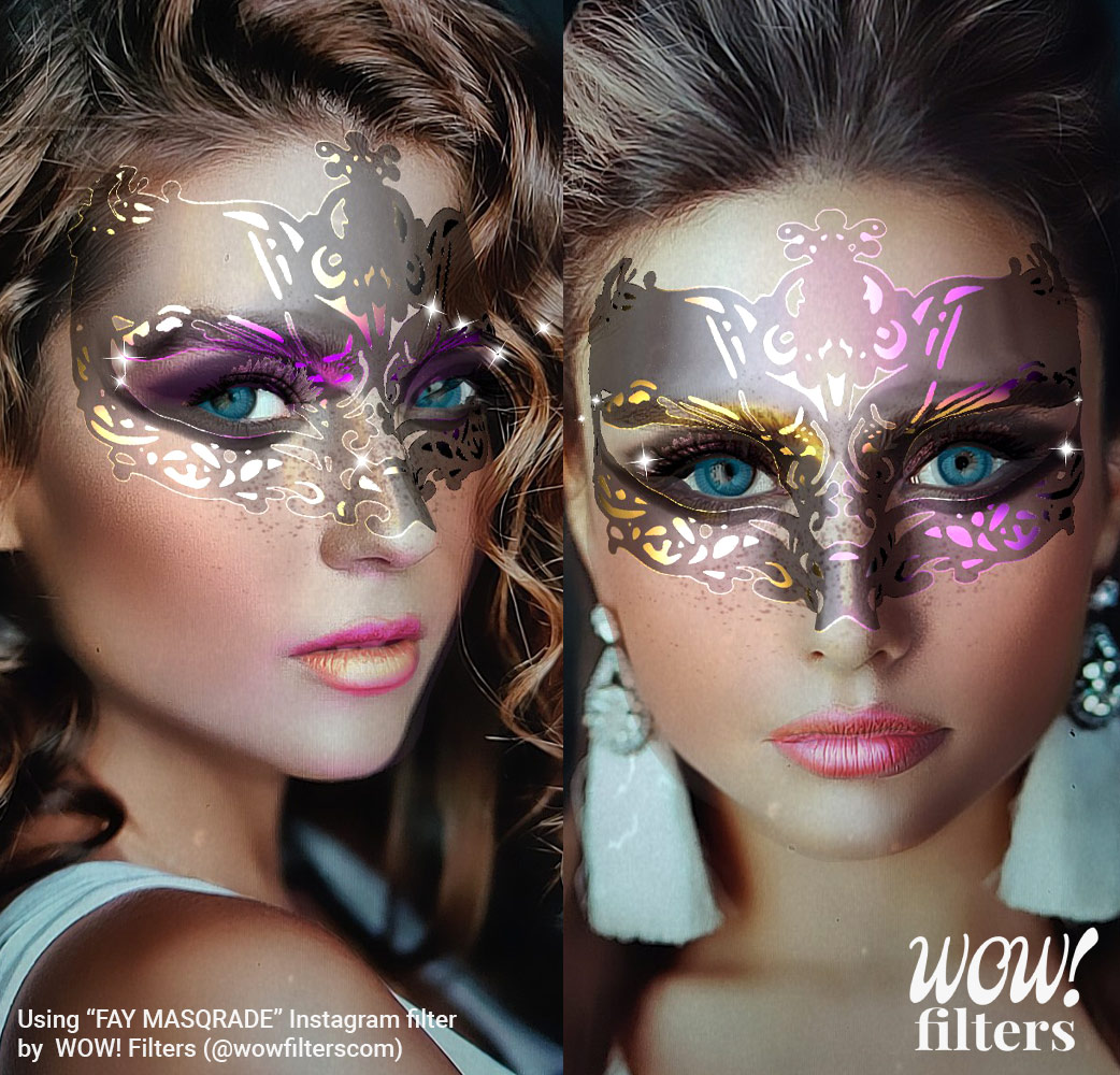 Glittery and shiny masquerade beauty mask for Instagram