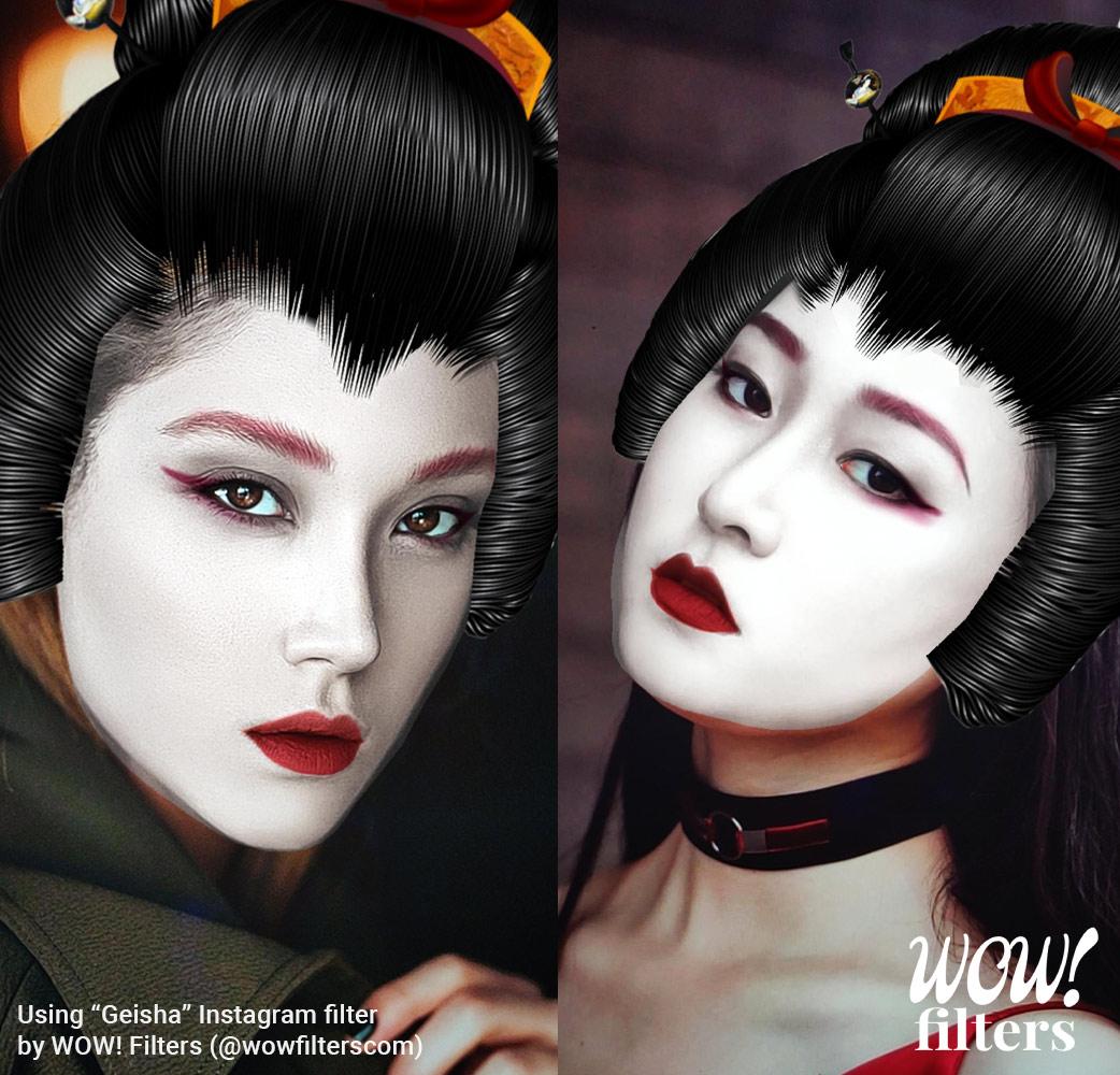 Two women with geisha makeup and mask IG mask