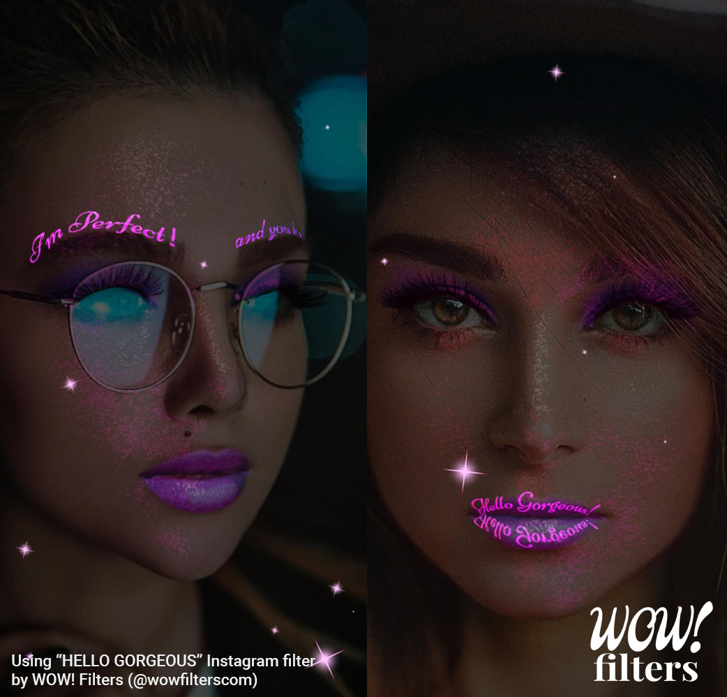 Two women with glitter makeup camera effect