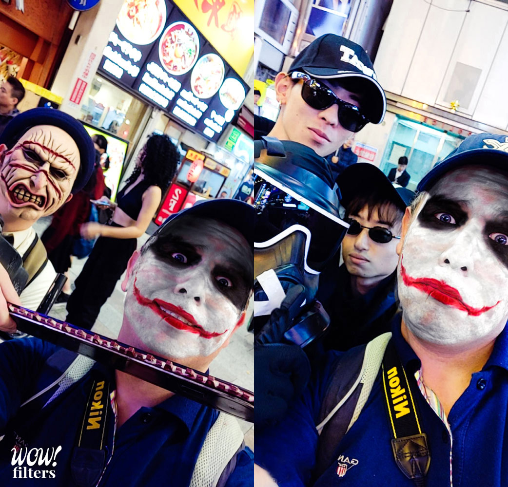 Joker face filter in Halloween 2019, Osaka, Japan