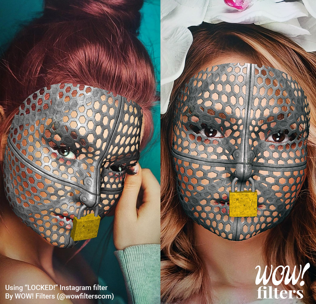 Two women with a cage and lock AR face mask