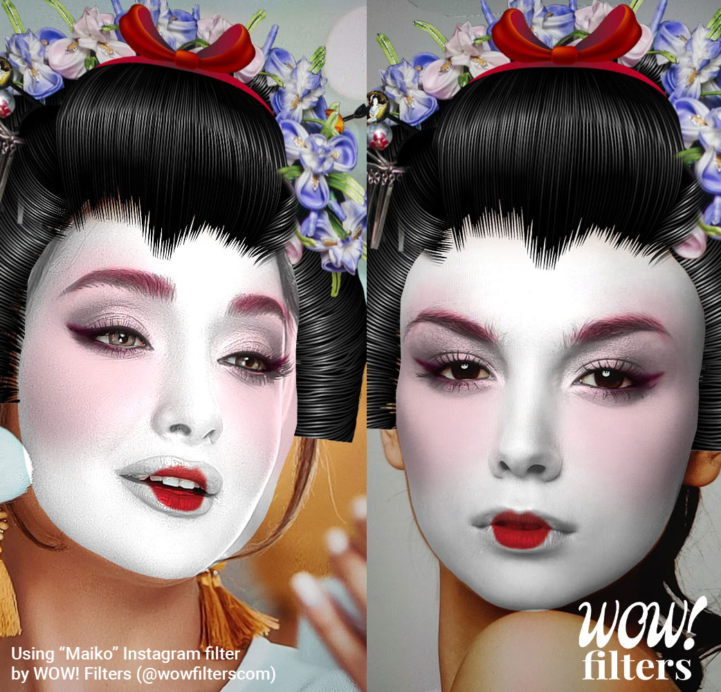 Two women with Maiko AR Instagram face mask