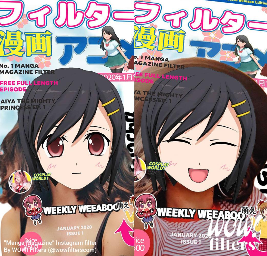 Cute manga magazine cover girl Instagram filter