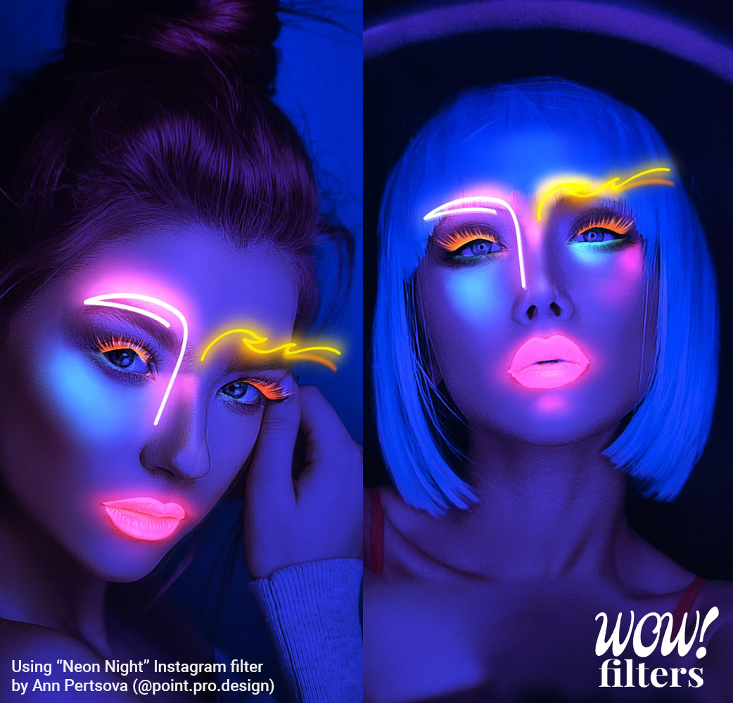 Neon Light 3D makeup effect