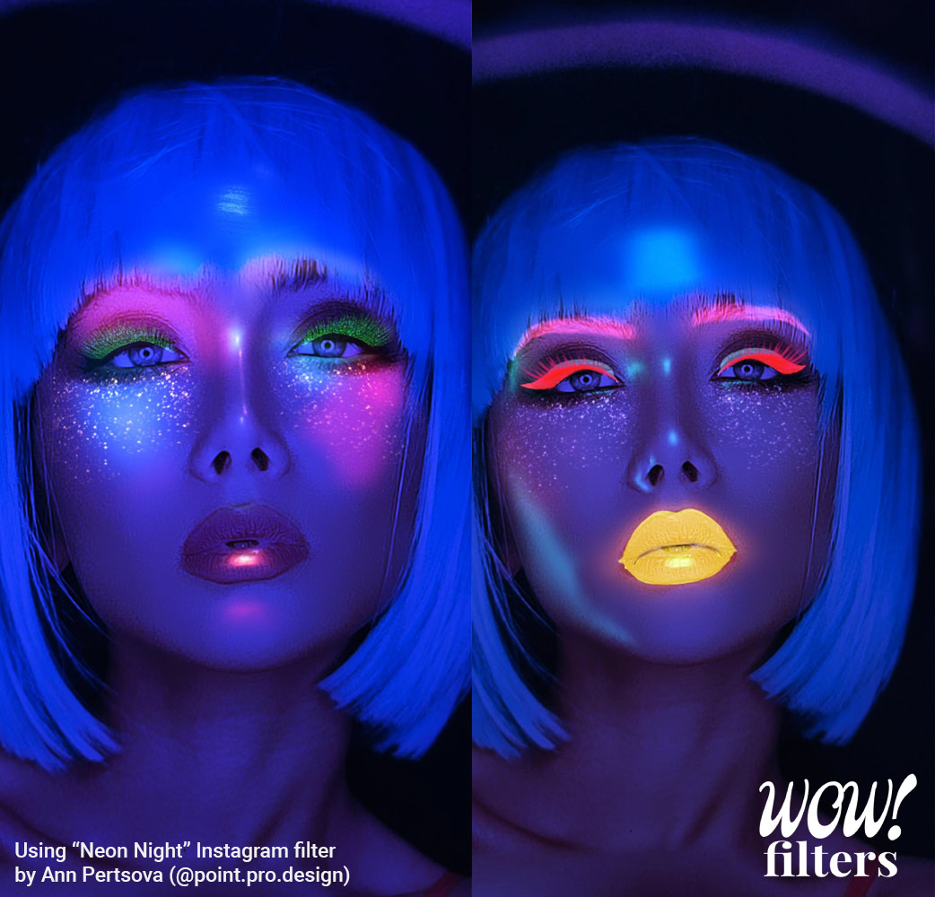 Neon tube and lights Instagram face filter