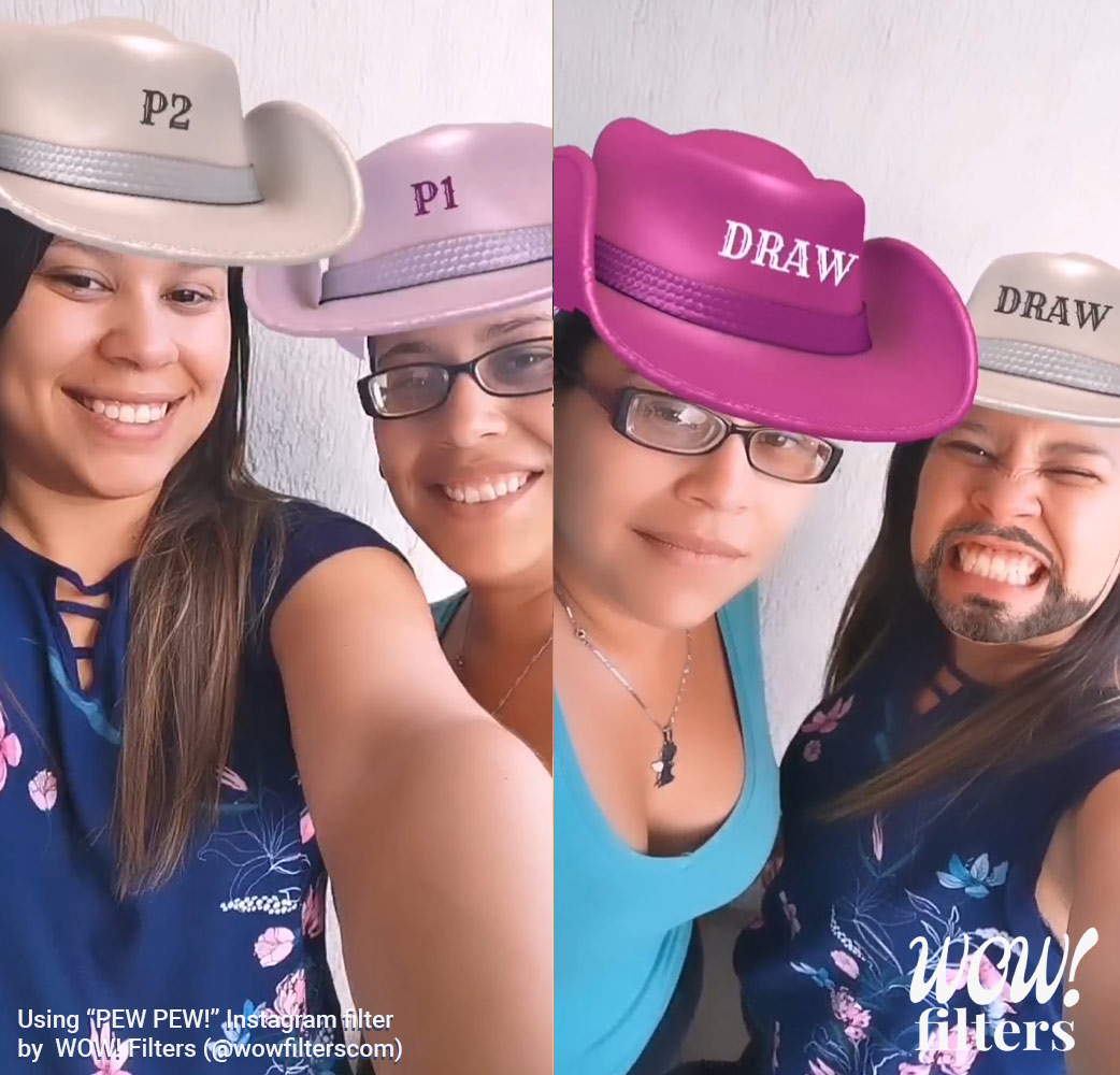 Two girls wearing a cowboy hat in Augmented Reality
