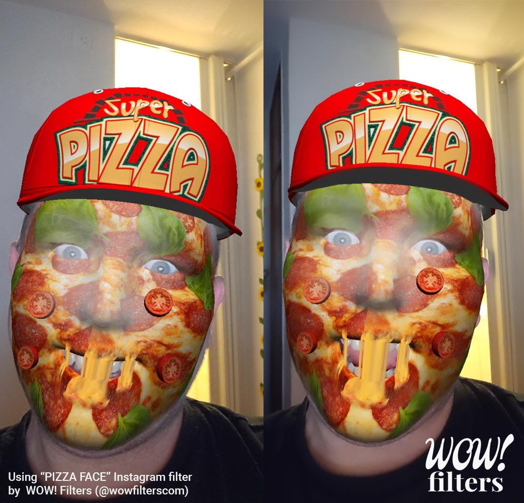 Pizza face AR face mask for Instagram