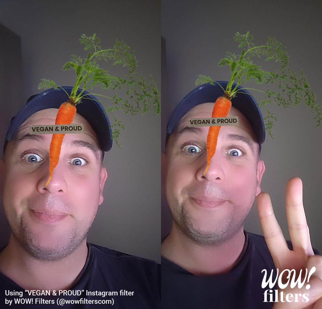 Vegan & Proud AR face filter with carrot on the face