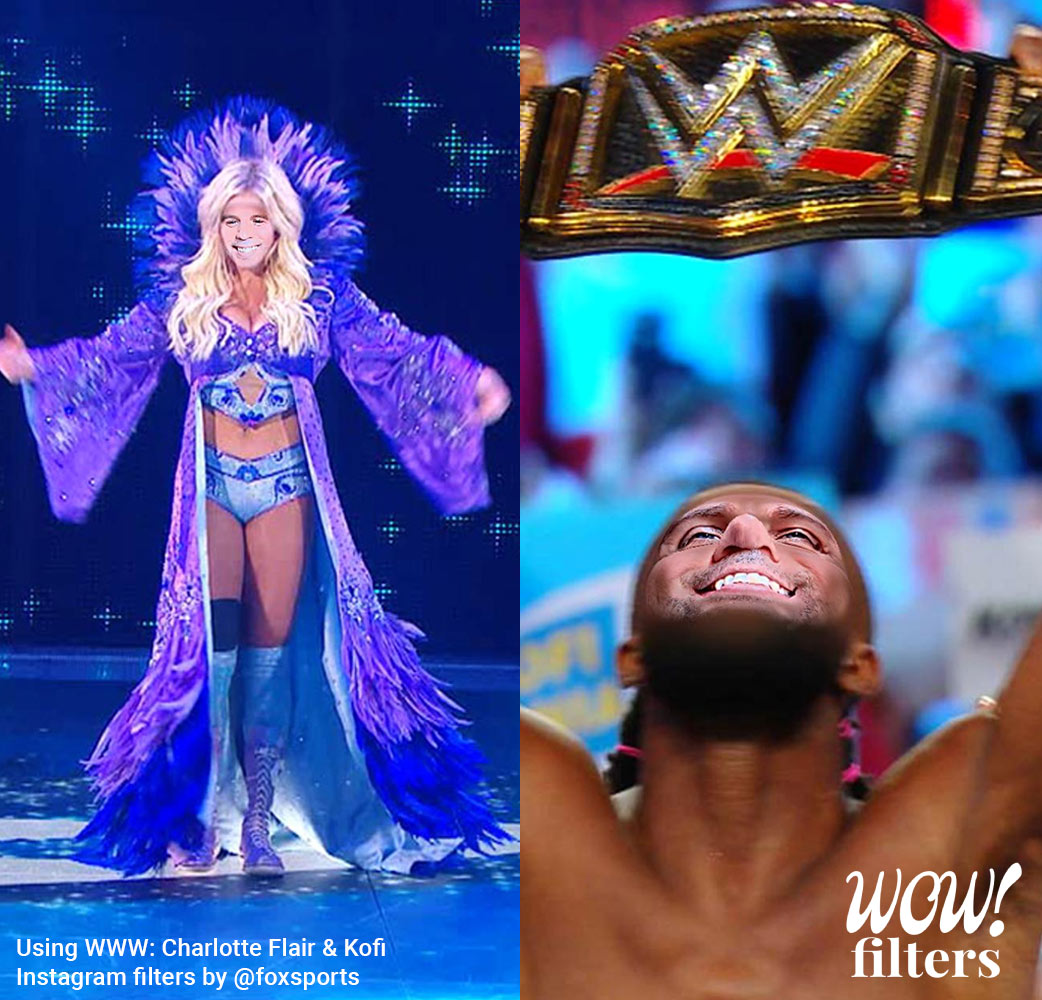 WWE Charlotte Flair and Kofi Instagram filters